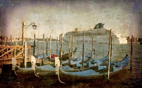 Picture city, the city, Italy, Venice, channel, vintage, Italy, gondola, Venice