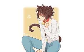 Picture cat, anime, art, guy, bell, Death Note, death note, L, L