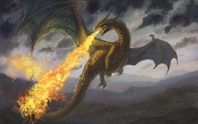 Picture mountains, fire, dragon