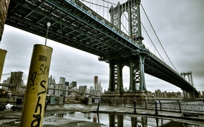 Wallpaper Manhattan, puddle, bridge, building, river, Bridge