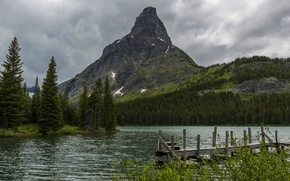 Picture forest, trees, mountains, clouds, river, rocks, USA, Glacier, Montana