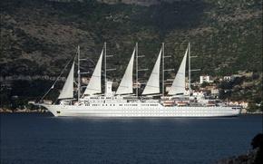 Picture WHITE, SHIP, MAST, SAILS, YACHT, SIZE, SAILBOAT
