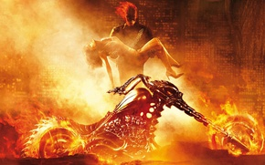 Picture girl, flame, motorcycle, Ghost Rider, marvel, Marvel Comics, on hand, burning, Ghost Rider