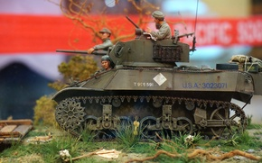 Picture toy, 1943, model, The Burmese operation, M3A3 Stuart