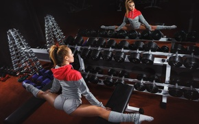 Picture fitness, elongation, woman, pose, mirror, gym, physical activity, dumbbells