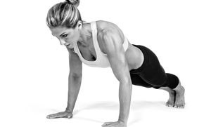 Picture woman, pose, fitness, sportswear, pushups