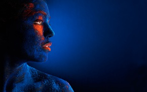 Wallpaper eye, blue, lips, ink, girl