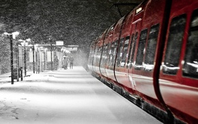 Picture winter, Night, silhouette, lights, Blizzard, stop