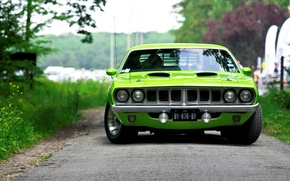 Picture front view, muscle car, Barracuda, green, 1971, Plymouth, Barracuda, Plymouth, green, muscle car