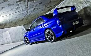 Picture machine, auto, wall, the tunnel, sedan, subaru, blue, wrx, impreza, side, Subaru, sports, Impreza