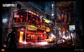 Picture night, lights, inFamous 2, pub