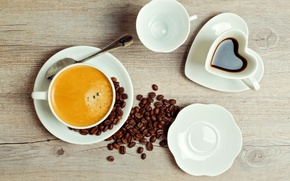 Picture table, drink, coffee, saucers, foam, Cup, grain, spoon