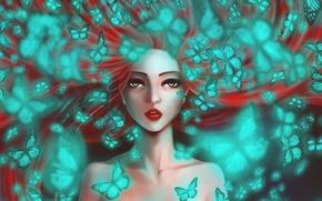 Picture eyes, look, girl, butterfly, art, long hair