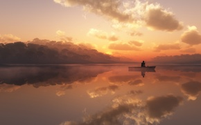 Wallpaper fog, lake, boat, fisherman