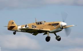 Wallpaper the sky, fighter, the plane, German, single-engine, Messerschmitt, Bf-109F