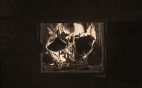 Picture fire, wood, black - and-white., Oven