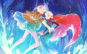 Picture girl, joy, the moon, art, staff, Frozen, guy, Rise of the Guardians, Rise of the ...