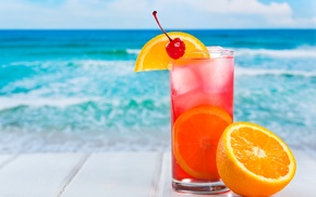 Picture ice, sea, summer, cherry, background, orange, cocktail, citrus, drink