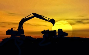 Picture shadows, sunlight, machinery, mining