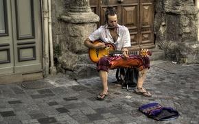 Picture street, guitar, musician