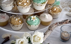 Picture food, roses, decoration, wedding, cupcakes