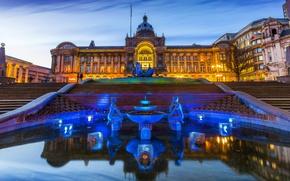 Picture lights, England, the evening, lights, ladder, fountain, Palace, sculpture, Birmingham