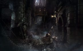 Picture the city, lantern, stroller, Bloodborne