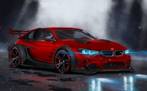Picture BMW, Red, Car, Front, Neon, Sport, Customs