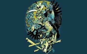 Picture butterfly, eyes, bird, people, skull