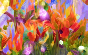 Picture flowers, rendering, petals, garden, meadow