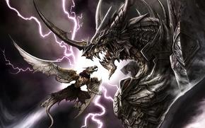 Wallpaper dragon, armor, lightning, teeth