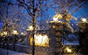 Picture macro, glass, city, the city, rain, street, drops, rain, glass, drops