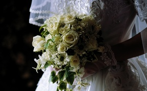 Wallpaper the bride, wedding, flowers, bouquet, veil, dress