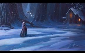 Picture cold, winter, forest, death, braid, hut, Raven, Sawan