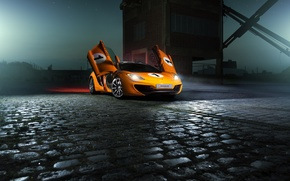 Picture McLaren, Orange, Color, MP4-12C, Supercar, Ligth, Nigth, Beam
