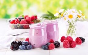 Picture flowers, berries, raspberry, chamomile, blueberries, jars, dessert, BlackBerry, yogurt