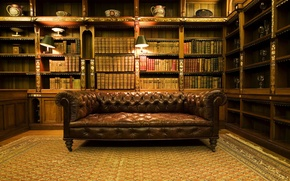 Wallpaper room, books, Sofa, library