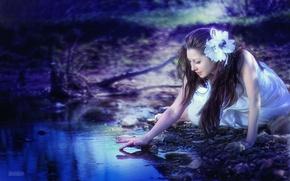 Picture girl, stream, fairy