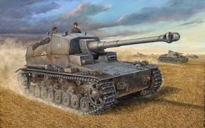 Picture war, art, painting, tank, ww2, Pz.Sfl.IVa 'Dicker Max' 10.5 cm SP Gun