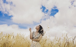 Picture field, the sky, girl, face, the wind, hair, dress