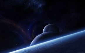 Picture space, planet, stars
