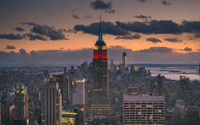 Picture sunset, island, New York, USA, Manhattan, The Empire state building, 21st highest in the world, …