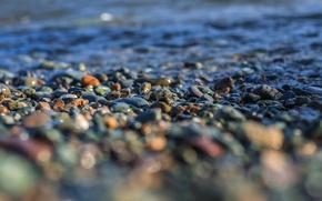 Picture water, macro, pebbles, shore, Stones, tilt-shift
