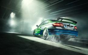 Picture BMW, Car, Race, GT3, Smoke, Parking, Alpina, Rear, Slip