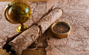 Picture map, rope, compass, globe, the manuscript