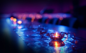 Picture macro, lights, candle, blue, bokeh