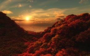 Picture sea, autumn, forest, water, the sun, landscape, mountains, reflection, hills, slope, horizon, the ravine, crimson, …