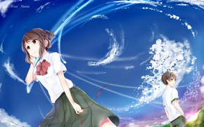 Picture the sky, girl, anime, guy, Kimi no VA On, Your Name, Your name