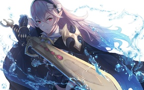 Picture water, girl, weapons, magic, sword, anime, art, fire emblem, my unit