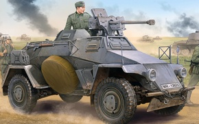Picture figure, art, 8 cm, Leichter Panzerspahwagen, Sd.Car.221, German light armored vehicle, Early version